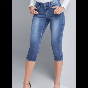 Silver high rise cropped jeans